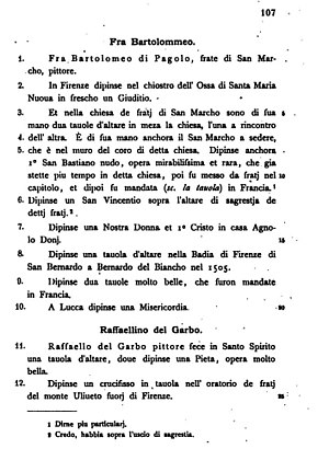 Anonimo Gaddiano - Page from the 1892 printed transcript, with the full notes on Fra Bartolomeo and Raffaellino del Garbo