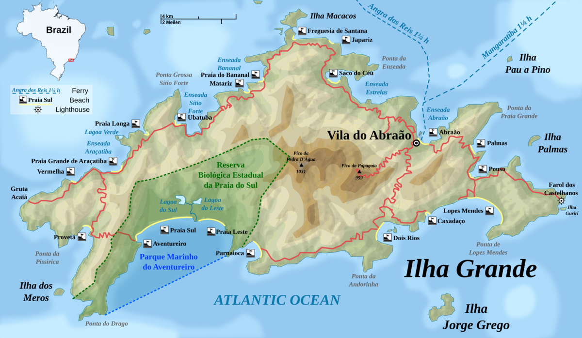 Ilha Grande Travel Guide At Wikivoyage - Us to brazil by boat map