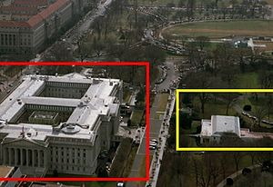Image showing the relative position of the White House East Wing (yellow) and the Treasury Building (red).jpg