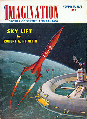 "Robert A. Heinlein bibliography - Heinlein's short story ""Sky Lift"" took the cover of the November 1953 issue of Imagination"