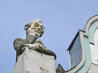 August Volz - Sculpture by Volz on a house in Tallinn designed by Jacques Rosenbaum