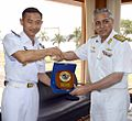 Indonesian Navy ship KRI Rigel Commanding Officer, Lt Cdr Muhammad Wirda Prayogo exchanging mementoes with Rear Admiral RB Pandit, Chief of Staff, Southern Naval Command.jpg