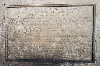 John Call - Inscription on Monument Of Sir John Call Bart, Lee Old Churchyard