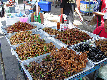 Deep fried insects sold at food stall for human consumption in Bangkok, Thailand.