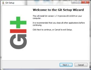 Français : Début de l'installation de Git