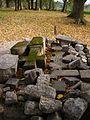 Installation from old gravestones, demolated during soviet era. Instalācija no padomju laikā izdemolētu kapu vietu akmeņiem. October, 2011 - Ivars Indāns - Panoramio.jpg