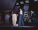 Installing an engine at the Consolidated Aircraft Corporation plant, Fort Worth1a34958v (cropped).jpg