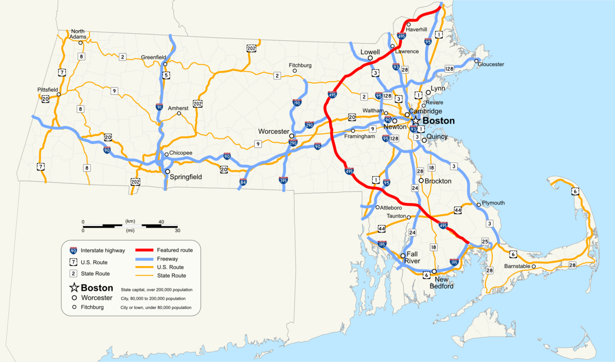 Interstate Massachusetts Wikipedia - Massachusetts map