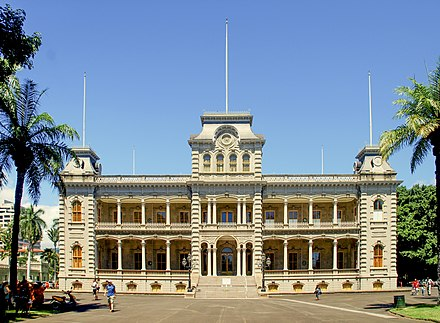 The `Iolani Palace in Honolulu, formerly the residence of the Hawaiian monarch, was the capitol of the Republic of Hawaii. Iolani Palace.JPG