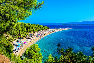 Zlatni Rat beach on the Island of Brac is one of the foremost spots of tourism in Croatia Island Brac (20785918360).jpg
