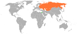 Map indicating locations of Israel and Soviet Union