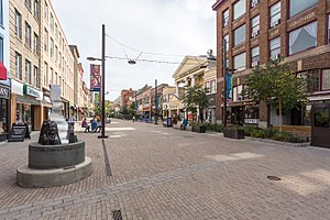 Ithaca Commons - Ithaca Commons, looking east from Cayuga Street. Martin Luther King sculpture at left.