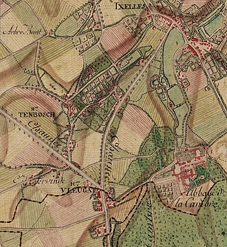 Ixelles - The village of Ixelles marked on the 17th century Ferraris map