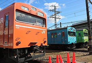 103 series - JR West 103 series trains in various liveries at Suita Depot in October 2016