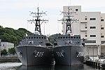 JS Awaji(MSO-304) & Hirado(MSO-305) front view at JMSDF Yokosuka Naval Base April 30, 2018.jpg