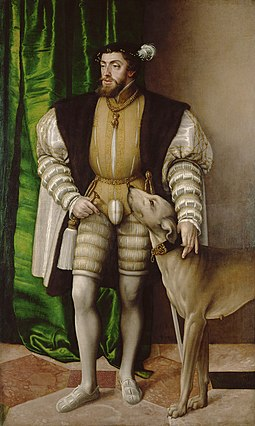 Emperor Charles V with Hound (1532), a painting by the 16th-century artist Jakob Seisenegger. Jakob Seisenegger 001.jpg