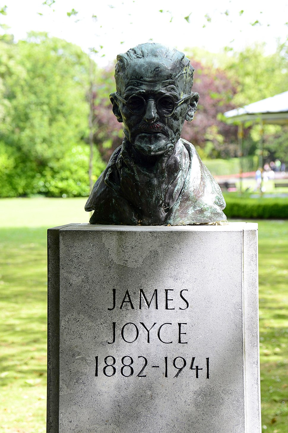 James Joyce's bust at St Stephen's Green in Dublin, Ireland.