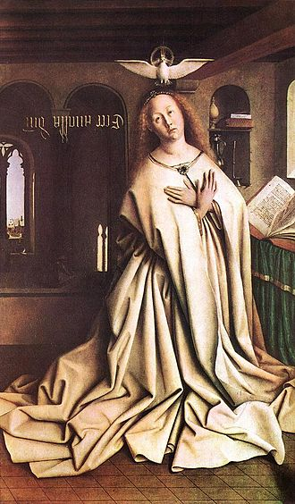 Annunciation (Memling) - Jan van Eyck's Annunciation, from the 1432 Ghent Altarpiece, has an inscription streaming towards the Virgin and the dove of the Holy Spirit hovers above.