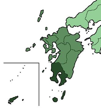 Kyūshū Campaign - The island of Kyūshū, with modern-day Kagoshima prefecture, roughly corresponding to the Shimazu family's home province of Satsuma highlighted.
