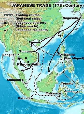 Red seal ships - Japanese Red seal trade in the early 17th century.