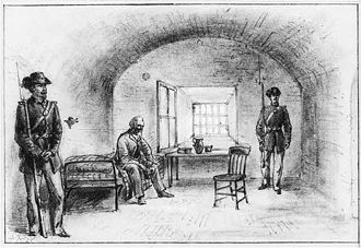 Fort Monroe - Sketch by Alfred R. Wauld of Jefferson Davis imprisoned in the casemate (1865)