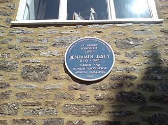 Benjamin Jesty - Blue plaque commemorating Jesty's pioneering work at Upbury Farm at Yetminster.