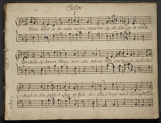 John Darwall - First page of an autograph manuscript of a tune by John Darwall for Psalm 1, in the metrical version by Tate and Brady.