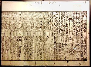 Japanese calendar - 1729 calendar, which used the Jōkyō calendar procedure, published by Ise Grand Shrine.