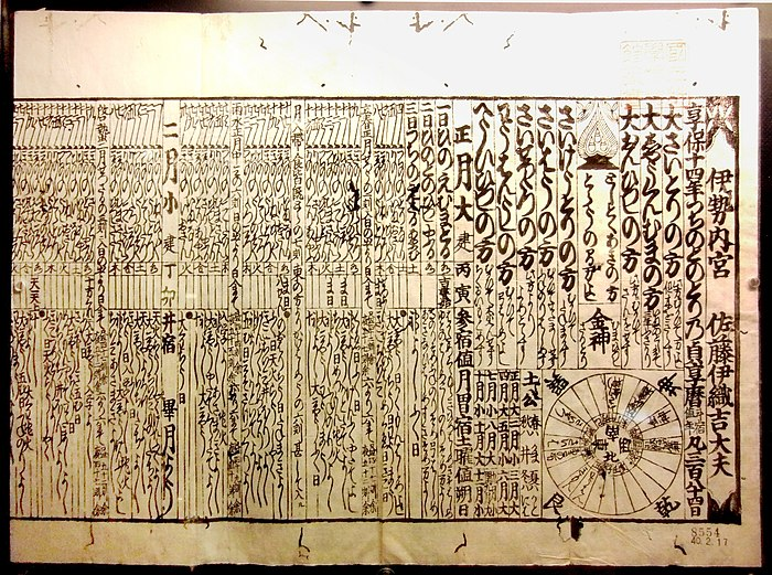 1729 calendar, which used the Jokyo calendar procedure, published by Ise Grand Shrine Jokyo-reki.jpg