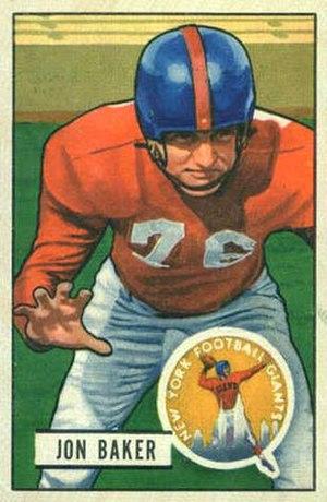 Jon Baker (American football) - Baker on a 1951 Bowman football card
