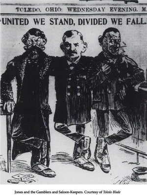 """Samuel M. Jones - """"Jones and the Gamblers and Saloon-Keepers."""" Contemporary cartoon from the Toledo Blade."""