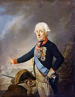 Painting shows a white-haired man standing in a blue uniform with red collar and cuffs and a light blue sash. He gestures with his right hand toward a battle scene, his bicorne hat and sword lie on a map next to him.