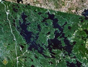 Lake Joseph - Lake Joseph to the west (left) of Lake Rosseau