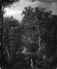 Skovlandskab med en malkepige