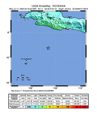 2006 Pangandaran earthquake and tsunami - USGS ShakeMap showing the relatively light to moderate intensity on the island