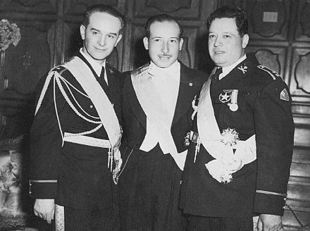 Jacobo Arbenz, Francisco Arana, and Jorge Toriello, who oversaw the transition to a civilian government after the October Revolution Juntagobierno1944.jpg