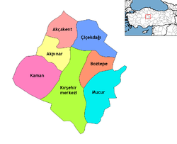 Location of Kaman (District), Kırşehir within Turkey.