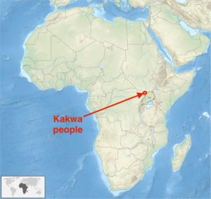 Kakwa people - The geographic distribution of the Kakwa people (approx.).