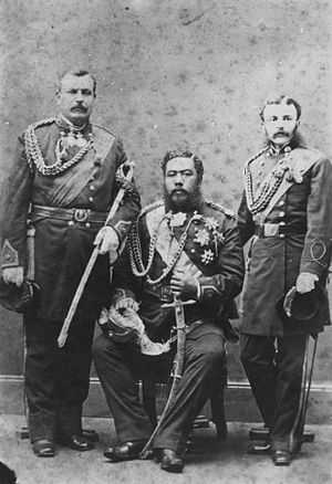 Charles Hastings Judd - Colonel Judd (left) with King Kalākaua (center) and Colonel George W. Macfarlane (right)
