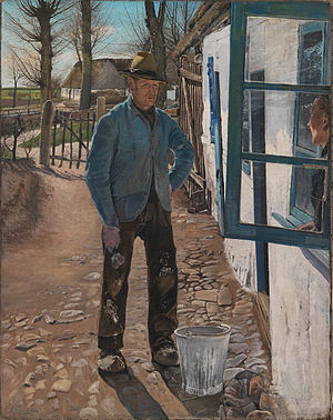 Whitewash - Whitewashing the Old House, painting by L.A. Ring. From the National Gallery of Denmark