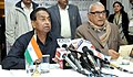 Kamal Nath briefing the press after the 34th meeting of NCR Planning Board, in New Delhi on January 20, 2014. The Chief Minister of Haryana, Shri Bhupinder Singh Hooda is also seen.jpg