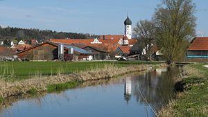 Wettenhausen Abbey - The Kammel with Wettenhausen Abbey on de background