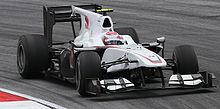 Kamui Kobayashi impegnato nelle prove libere del Gran Premio della Malesia 2010.