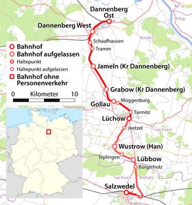 Kulturelle Landpartie Karte.Bahnstrecke Salzwedel Dannenberg Wikipedia