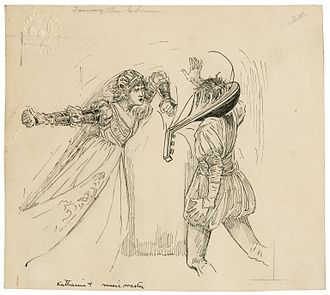 Louis Rhead ink drawing of Katherine breaking a lute over Hortensio's head, designed for a 1918 edition of Tales from Shakespeare. Katherine hits the music master.jpg