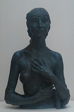 """Kathleen Garman - Bronze sculpture of Kathleen Garman by Jacob Epstein, titled """"Kathleen"""" and made in 1935, while she was his mistress, now at Bristol City Museum and Art Gallery"""