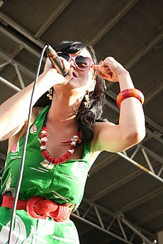 Katy Perry performing on the Warped Tour 2008