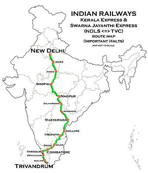 Kerala Express - Image: Kerala Express and Swarnajayanthi Express (Trivandrum New Delhi) Route map