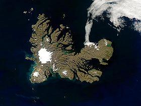 Image satellite des îles Kerguelen.
