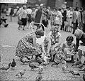 Kinderen brengen vakantie door in stad. Duiven voeren, Bestanddeelnr 912-7941.jpg